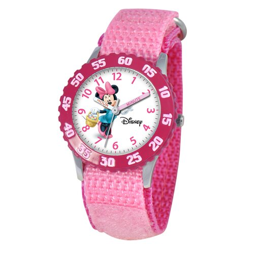 Disney Watches Kid's Minnie Mouse Time Teacher Velcro Watch in Pink