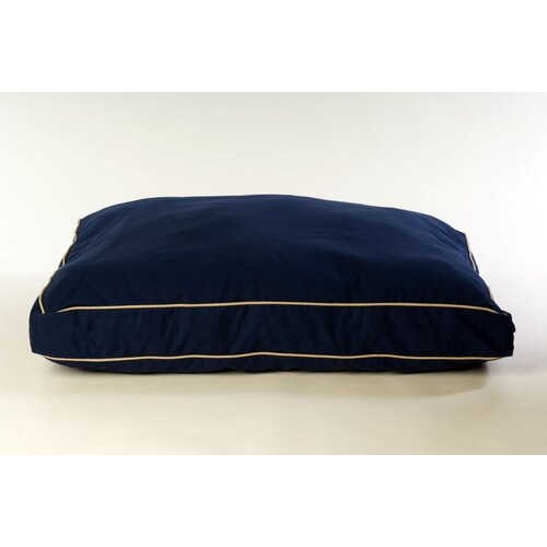 Classic Twill Rectangular Pet Bed in Blue with Khaki Cording