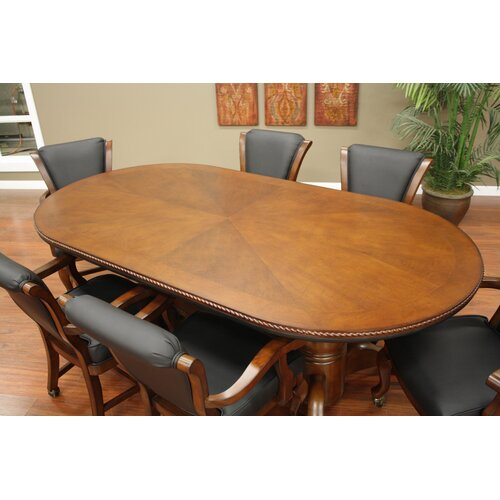 American Heritage High Stakes Oval Poker Table Set
