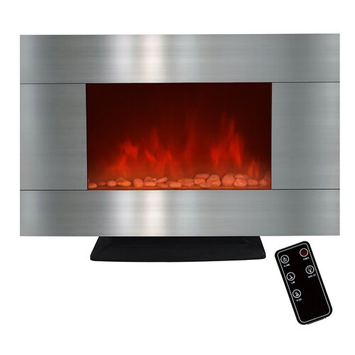 36 Freestanding Stainless Steel Electric Fireplace With Led Backlight Wayfair