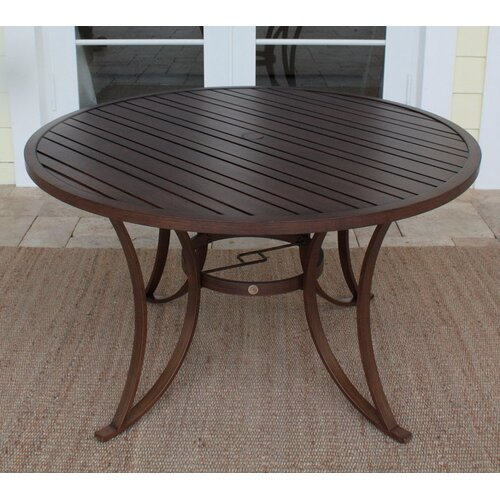 Outdoor Slatted Aluminum Round Dining Table