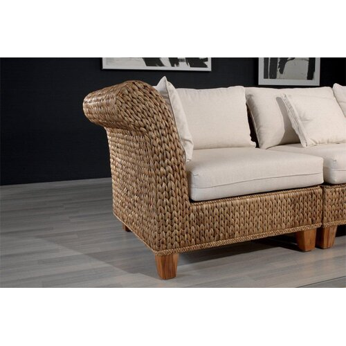 Hospitality Rattan Seagrass Modular Corner Section Deep Seating Chair with Cushion