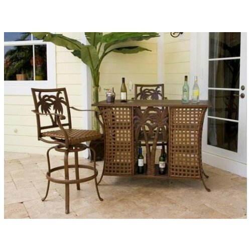 Hospitality Rattan Coco Palm Three Piece Home Bar Set