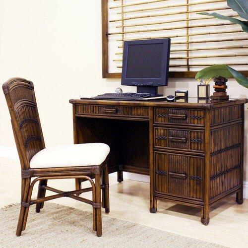 Hospitality Rattan Polynesian Writing Desk with Chair