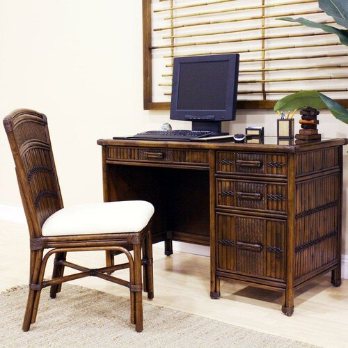 Hospitality Rattan Polynesian Writing Desk with Chair