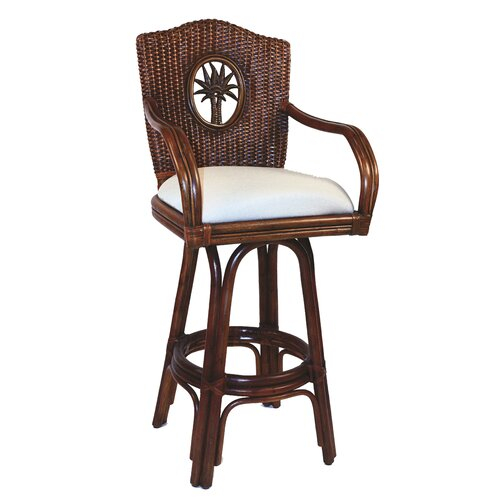 "Hospitality Rattan Lucaya 24"" Counter Stool with Cushion"