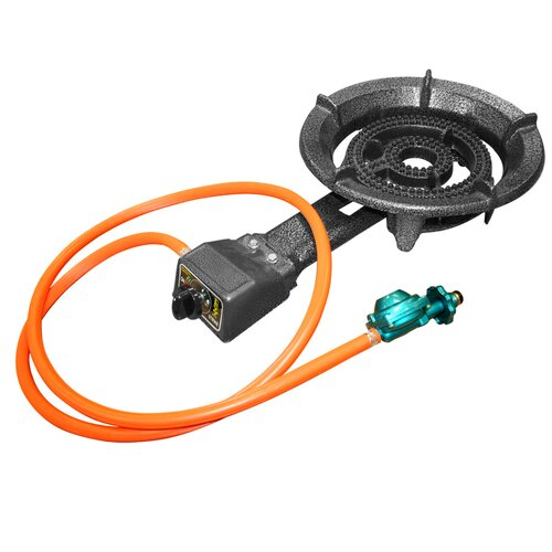 alpine cuisine propane burner with regulator and hose
