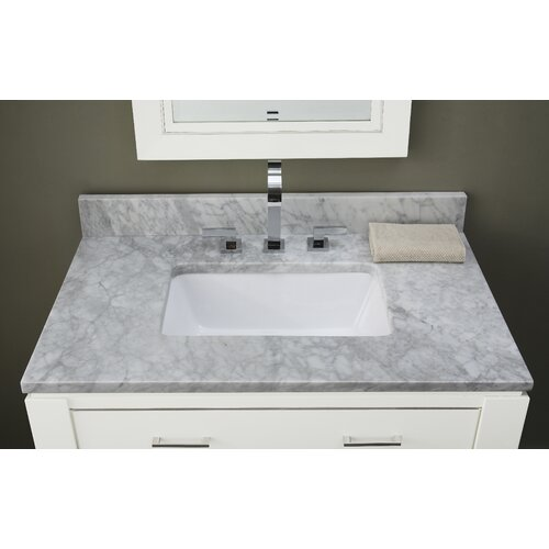 "Ryvyr 31"" Marble Vanity Top for Rectangular Undermount Sink with Backsplash"