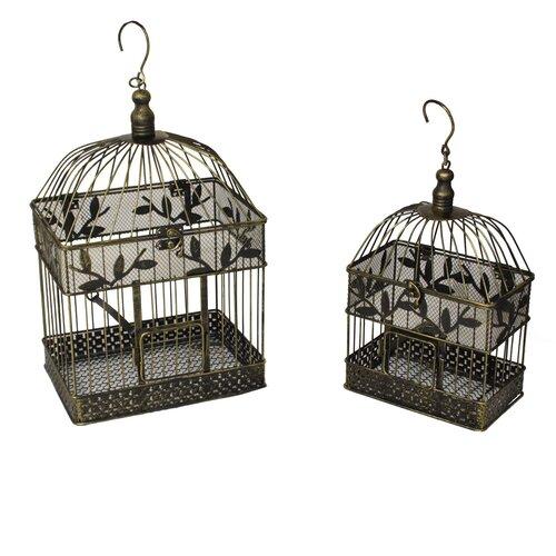 Urban 2 Piece Decorative Metal Bird Cages Set
