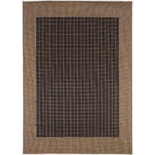 Checkered Outdoor Rug: Couristan Recife Checkered Field Black Cocoa Indoor