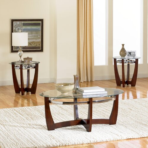 Standard furniture apollo 3 piece coffee table set for Living room table sets