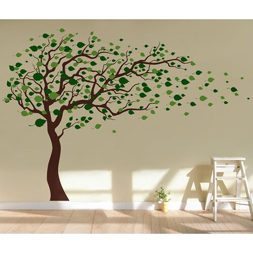 pop decors tree blowing in the wind removable vinyl art wall decal