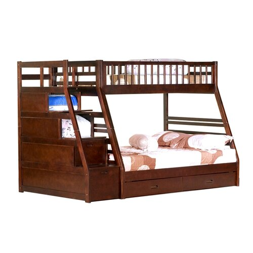 Magnolia home twin over full standard bunk bed with drawer and storage step reviews wayfair - Bunk bed with drawer steps ...