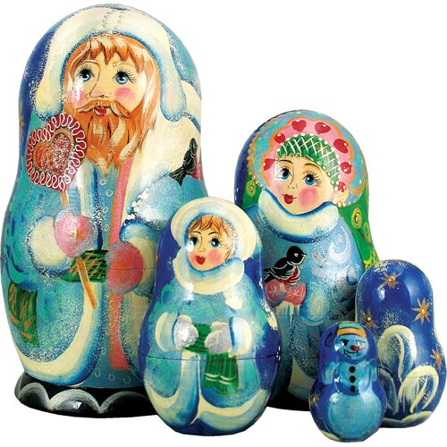 G Debrekht Russia 5 Piece Winter Sweet Santa Nested Doll Set