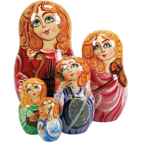 G Debrekht Russia 5 Piece Music Angels Nested Doll Set