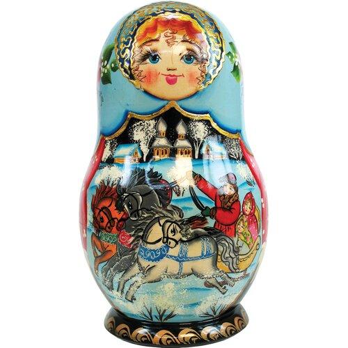G Debrekht Russia 5 Piece Troika Winter Nested Doll Set