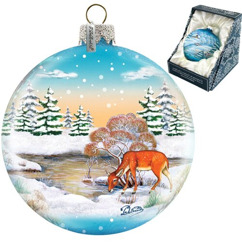 G Debrekht Winter Raindeer Ball Ornament