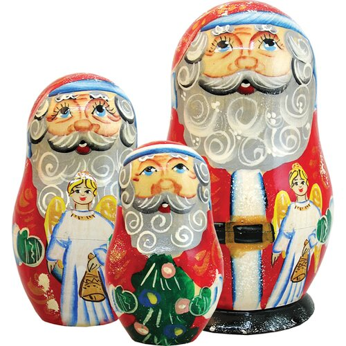 G Debrekht Russia 3 Piece Santa Angel Nested Doll Set