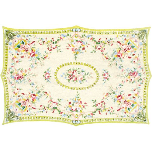 French Medallion Yellow Floral Rug