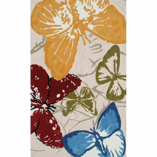 The Rug Market Premium Monarch Butterflies Red Multi Outdoor Rug