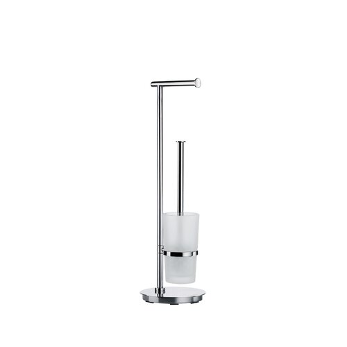 Smedbo Outline Lite Toilet Roll Holder and Brush with Round Base in Polished Stainless Steel