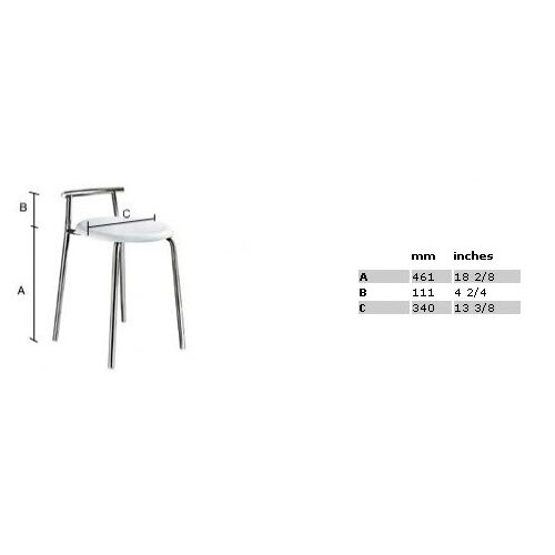 """Smedbo Outline 22.75"""" Shower Chair with Werzalite White Seat in Polished Stainless Steel"""