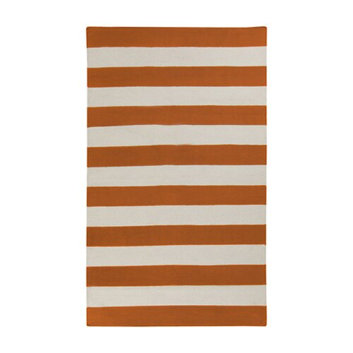 Frontier Burnt Orange/Winter White Striped Rug