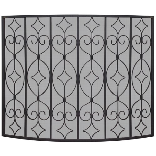 1 Panel Wrought Curved Ornate Fireplace Screen