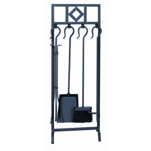 Uniflame Corporation 4 Piece Wrought Iron Inline Fireplace Tool Set With Stand
