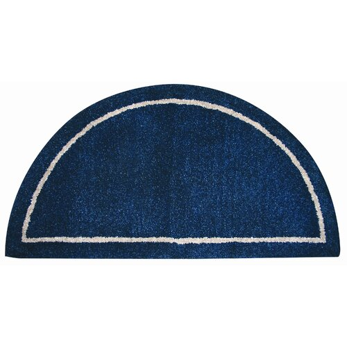Hand-Tufted 100% Wool Hearth Rug in Deep Blue