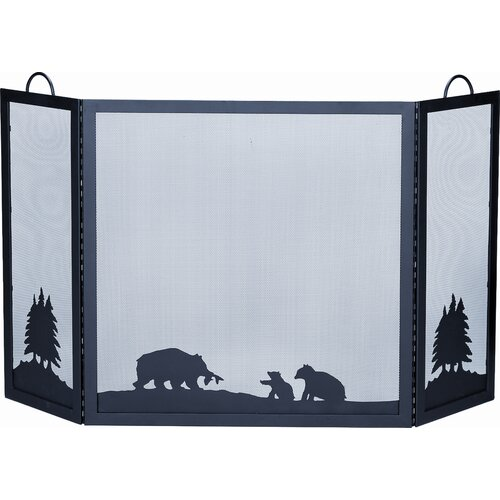 Uniflame Corporation Deluxe Bear Wrought Iron Fire Fireplace Screen