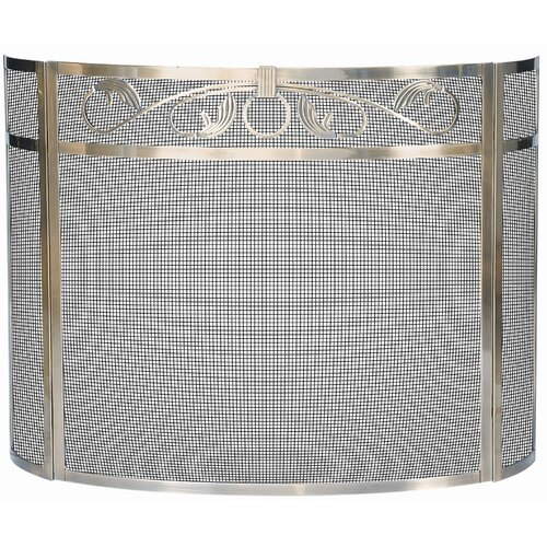 3 Panel Polished Bow Fireplace Screen
