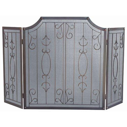3 Panel Venetian Bronze Fireplace Screen