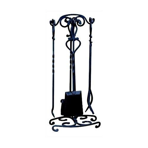 5 Piece Black Wrought Iron Fireplace Tool Set