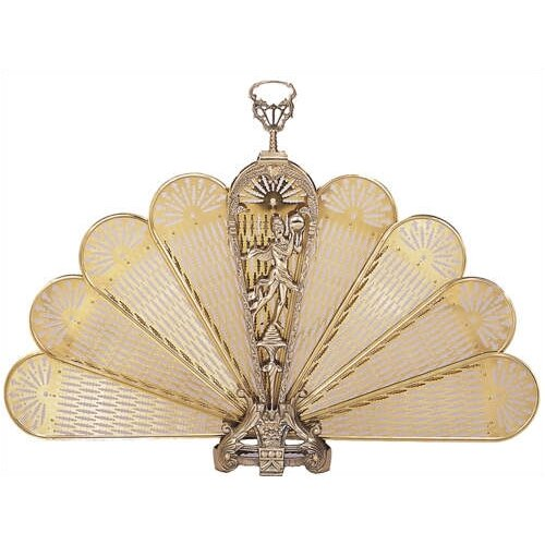 Solid Brass Lady Fan Fireplace Screen