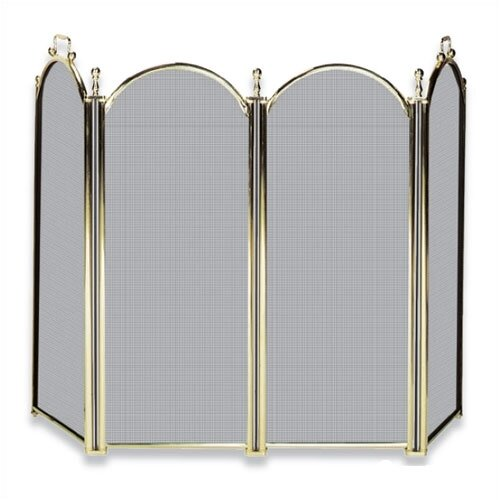 Polished Brass Fireplace Screen w/ Woven Mesh