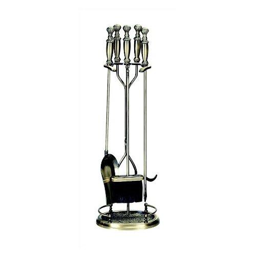 5Piece Antique Brass Fireplace Tool