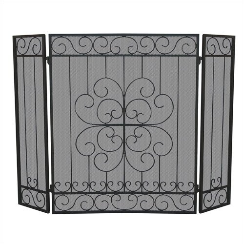 3 Fold Black Wrought Iron Screen With Floral Design