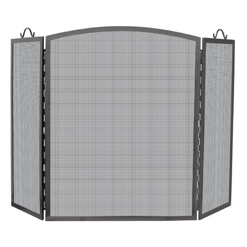 3 Panel Olde World Iron Arch Top Fireplace Screen