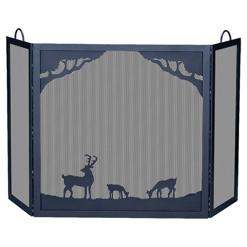 Deluxe Nature 3 Panel Wrought Iron Fire Fireplace Screen
