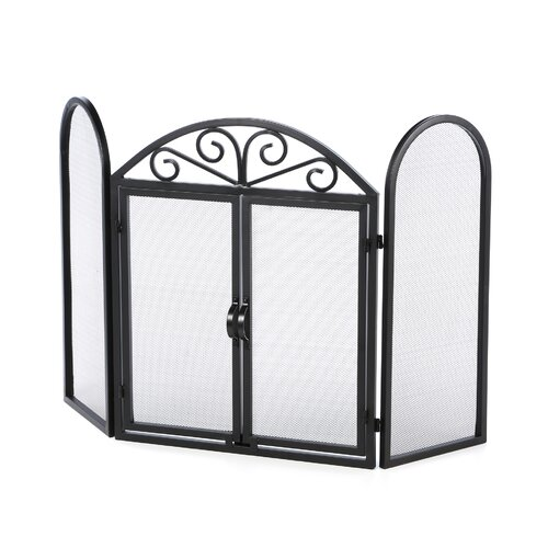 Uniflame Corporation 3 Panel Wrought Iron Fireplace Screen with Opening Doors