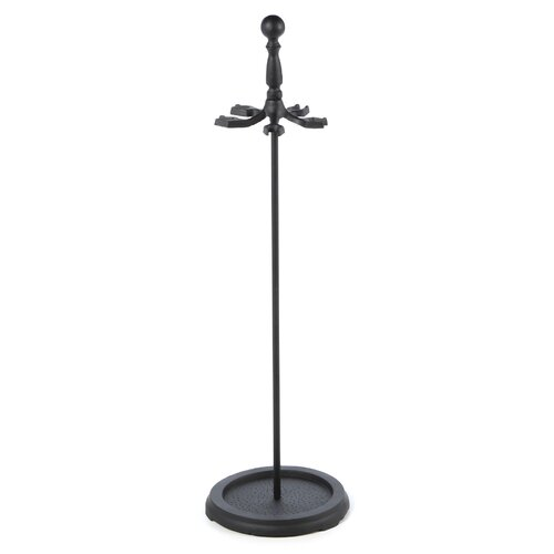 Uniflame Corporation 4 Piece Metal Fireplace Tool Set With Stand