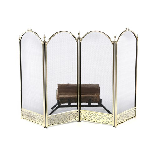 Uniflame Corporation Brass Fireplace Screen with Decorative Filigree