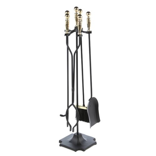 4 Piece Polished Metal Fireplace Tool Set With Stand