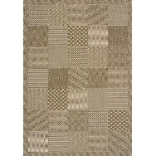 Solarium Brown Patio Block Indoor/Outdoor Rug