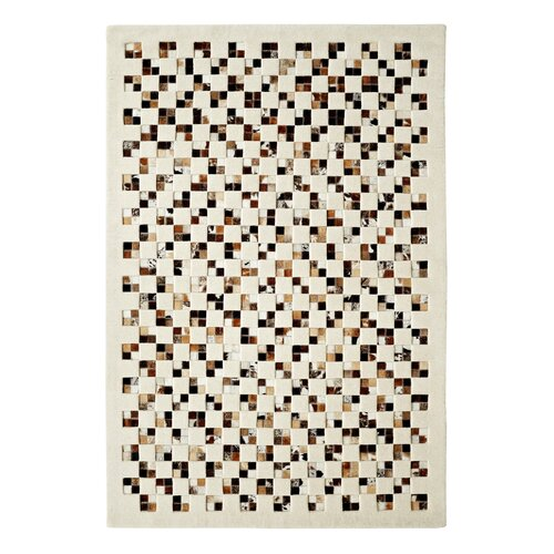 Dynamic Rugs Leather Work Ivory/Brown Checked Rug