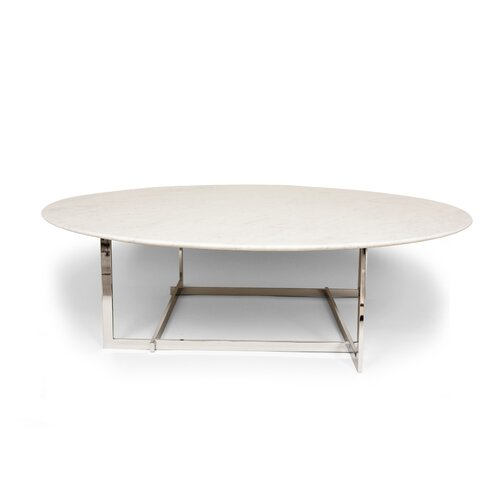 Modern 24 Carat Gold Oval Marble Coffee Table: Falkoping Coffee Table
