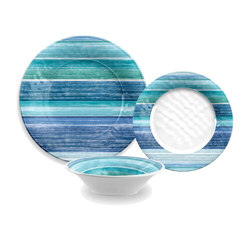 Sea blues melamine 12 piece dinnerware set wayfair