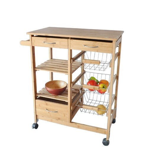 kitchen cart with bamboo wood top wayfair