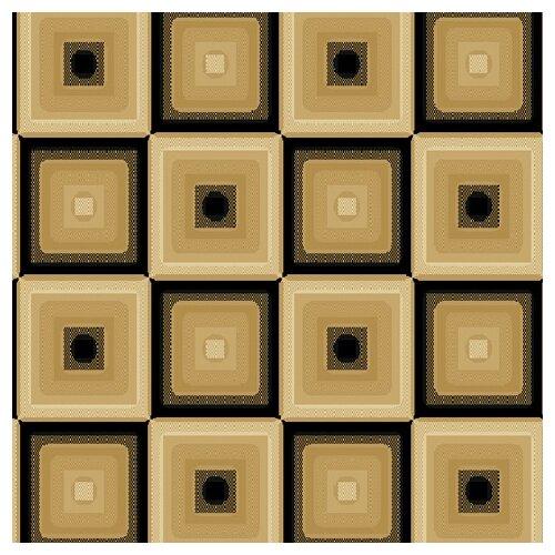 Central Oriental Blocks Dimensions Squares Beige/ Black Rug